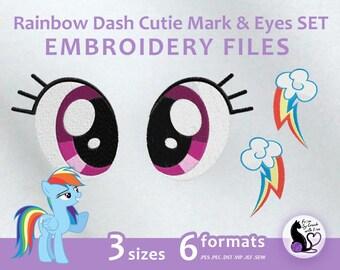 My Little Pony - Rainbow Dash Cutie Mark & Eyes SET - Embroidery Machine Design