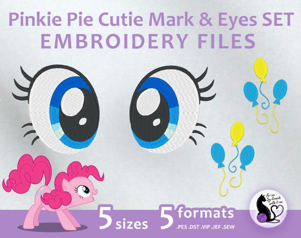 My Little Pony Pinkie Pie Cutie Mark & Eyes SET Embroidery | Etsy