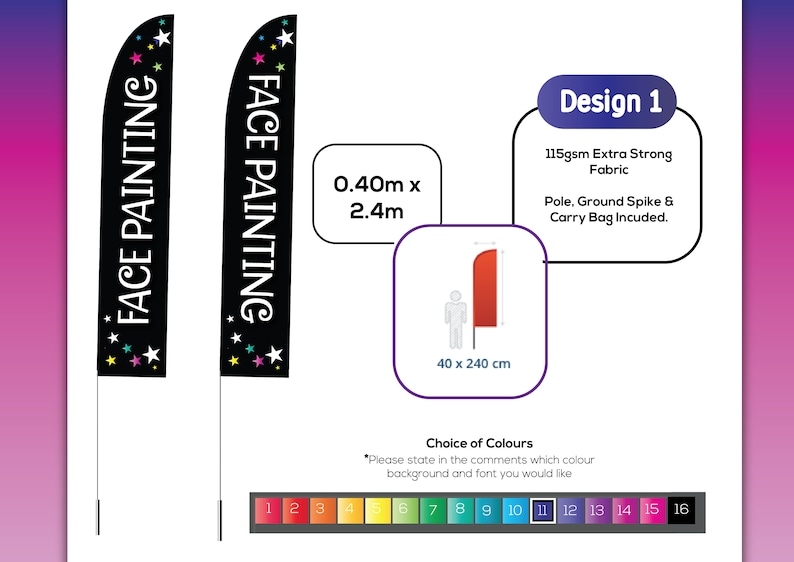 c700557f5d374 2.4 Meter FEATHER FLAG inc carry bag + Ground Spike plus Custom Design  Service ! or add your own logo!!