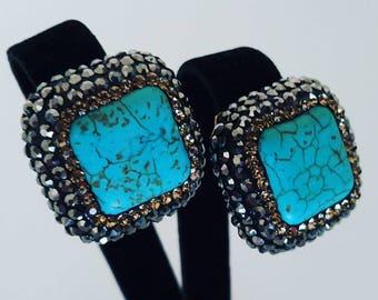 Turquoise earrings, Ottoman jewelry, Gift for women, Grandbazaar