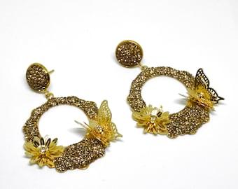 Butterfly Earrings, 22k Gold Plated Earrings,Turkish jewelry