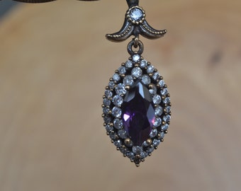 Sapphire Silver Pendant, Inspired by Ancient Culture Ottoman style pendant, Istanbul jewelry, Grand bazaar.