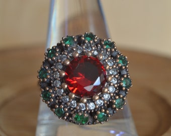 Ruby Ottoman Ring, Hurrem sultan ring, 925k Silver ring ,Istanbul jewelry, Grand bazaar, Women ring size: 9 Us