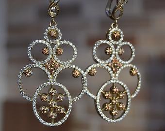 Hematite Zircon Huge Earrings, Sultans Earrings, 925k Silver, Ottoman mystic, women earrings