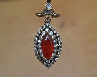 Ruby Silver Pendant, Inspired by Ancient Culture Ottoman style pendant, Istanbul jewelry, Grand bazaar.