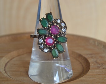 Emerald Ruby Silver Ring, Authentic Jewelry, Inspired by Ancient Culture Ottoman style ring, Hurrem sultan Istanbul jewelry