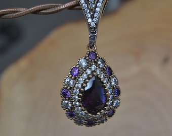 Hematite Silver Pendant, Inspired by Ancient Culture Ottoman style pendant, Istanbul jewelry, Grand bazaar.