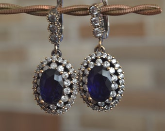 Sapphire Earrings, Sultans Earrings, 925k Silver, Ottoman mystic, women earrings