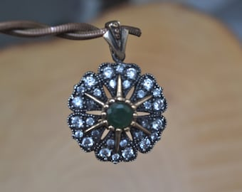 Emerald Silver Pendant, Inspired by Ancient Culture Ottoman style pendant, Istanbul jewelry, Grand bazaar.