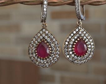 Ruby Earrings, Sultans Earrings, 925k Silver, Ottoman mystic, women earrings