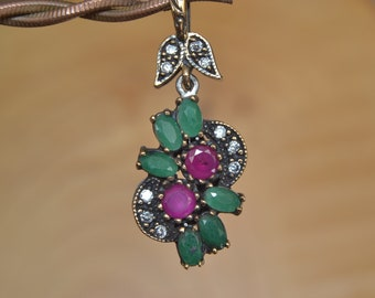 Ruby Emerald Silver Pendant, Inspired by Ancient Culture Ottoman style pendant, Istanbul jewelry, Grand bazaar.