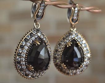 Onyx Earrings, Sultans Earrings, 925k Silver, Ottoman mystic, women earrings
