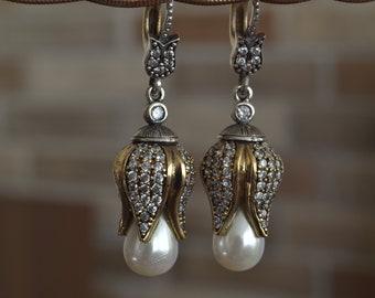 Pearl Earrings, Sultans Earrings, 925k Silver, Ottoman mystic, women earrings