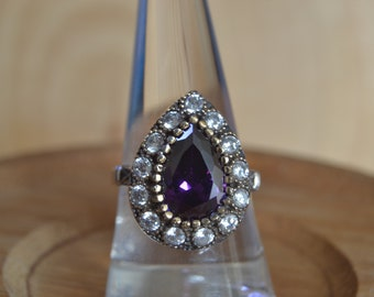 Ring Hematite Silver, Authentic Jewelry, Inspired by Ancient Culture Ottoman style ring, Hurrem sultan Istanbul jewelry
