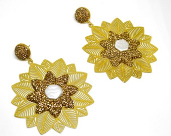 22k Gold Plated Pearl Earrings,Turkish jewelry, Special Design