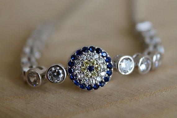 nazar silver evil eye bracelet protection bracelet Bracelet argent, bracelet femme Evil Eye Bracelet greek bracelet