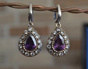 Hematite Earrings, Sultans Earrings, 925k Silver, Ottoman mystic, women earrings