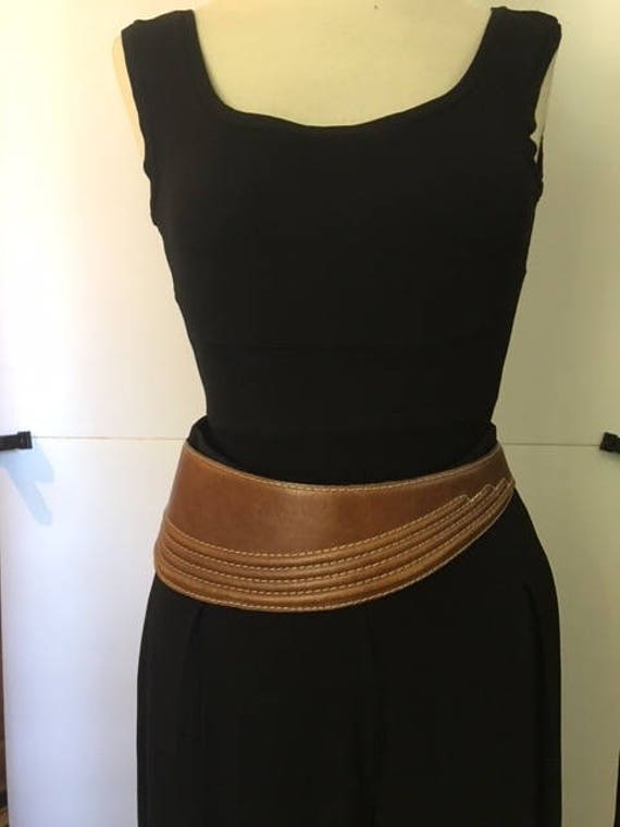 BROWN Leather Belt with Trapunto Stitching
