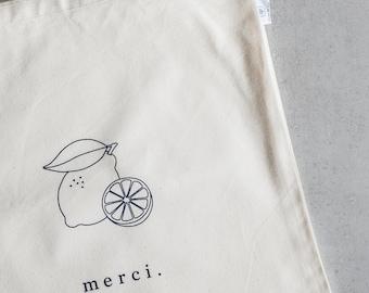 """Market bag - """"Merci"""" Lemon"""