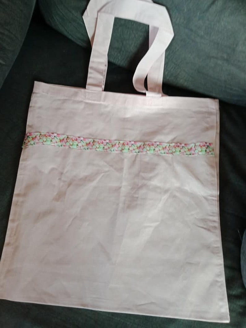 Light pink tote bag  shopping bag with marshmallow print