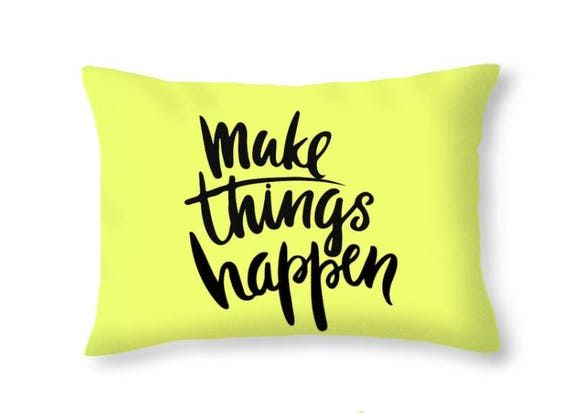 Pillow Quotes Interesting Yellow Decorative Pillow Quotes Printed Throw Pillow Covers Etsy