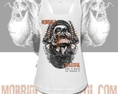 Official MorbidlyBeautiful mascot white ladies racerback tank - home is where the horror is