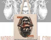 official MorbidlyBeautiful mascot natural tote bag - home is where the horror is
