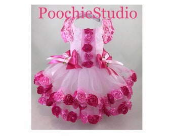 d9fec6c799 Dog dress summer floral dress fancy special occasion pink hot pink fuchsia  tutu skirt princess dog dress xxs - xl and up!