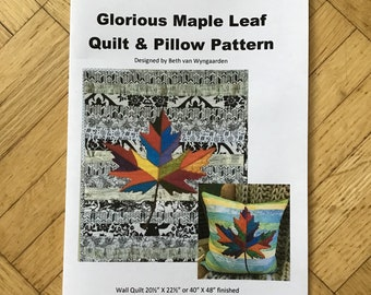 Glorious Maple Leaf Quilt Pattern and Pillow Pattern