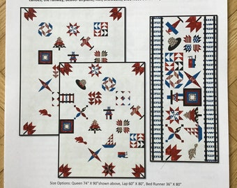 True North Sampler Quilt Pattern, featuring Northcott's Oh Canada fabric line, Block of the Month