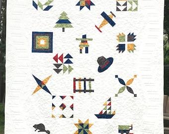 True North Sampler Quilt Pattern , Bed Quilt Lap Quilt Bed Runner, digital version