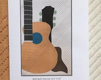 Strum (Acoustic) Art Quilt Pattern, Paper Copy, Acoustic Guitar
