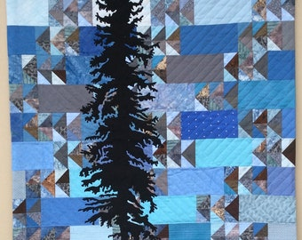 Spruce Tree and Geese Art Quilt Wall Quilt
