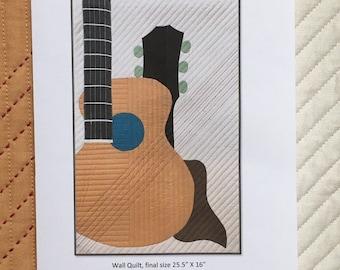 Strum (Acoustic) Art Quilt Pattern, Digital .pdf Copy, Acoustic Guitar
