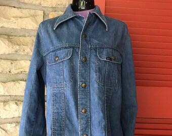 4aaad4cf3d906 Vintage 70s LEE Denim Snap Shirt Jacket 2 Pocket Women s Medium Large