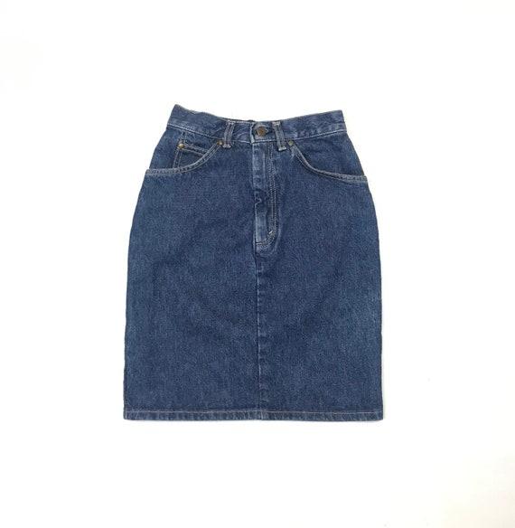 1980's Levis W23 Slim Denim Skirt USA Dark Wash