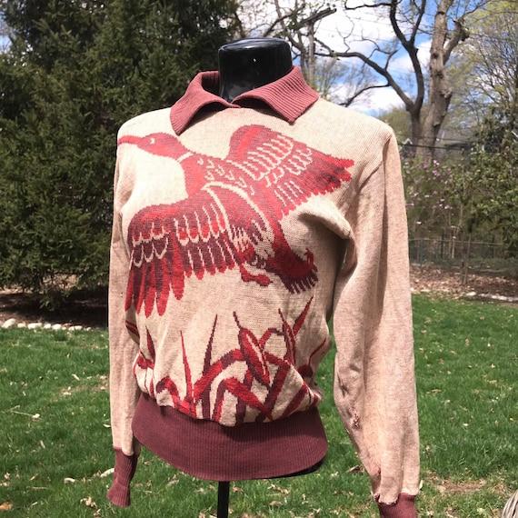 Vintage 40's Barclay Playshirt Novelty Sweater Bir