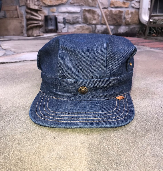 1970's Levis Denim Hat XL Train Conductor Hat Clea