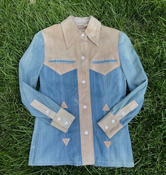 1970's Suede & Cotton Western Snap Jacket Shirt Small Vintage Original 1970's by Etsy