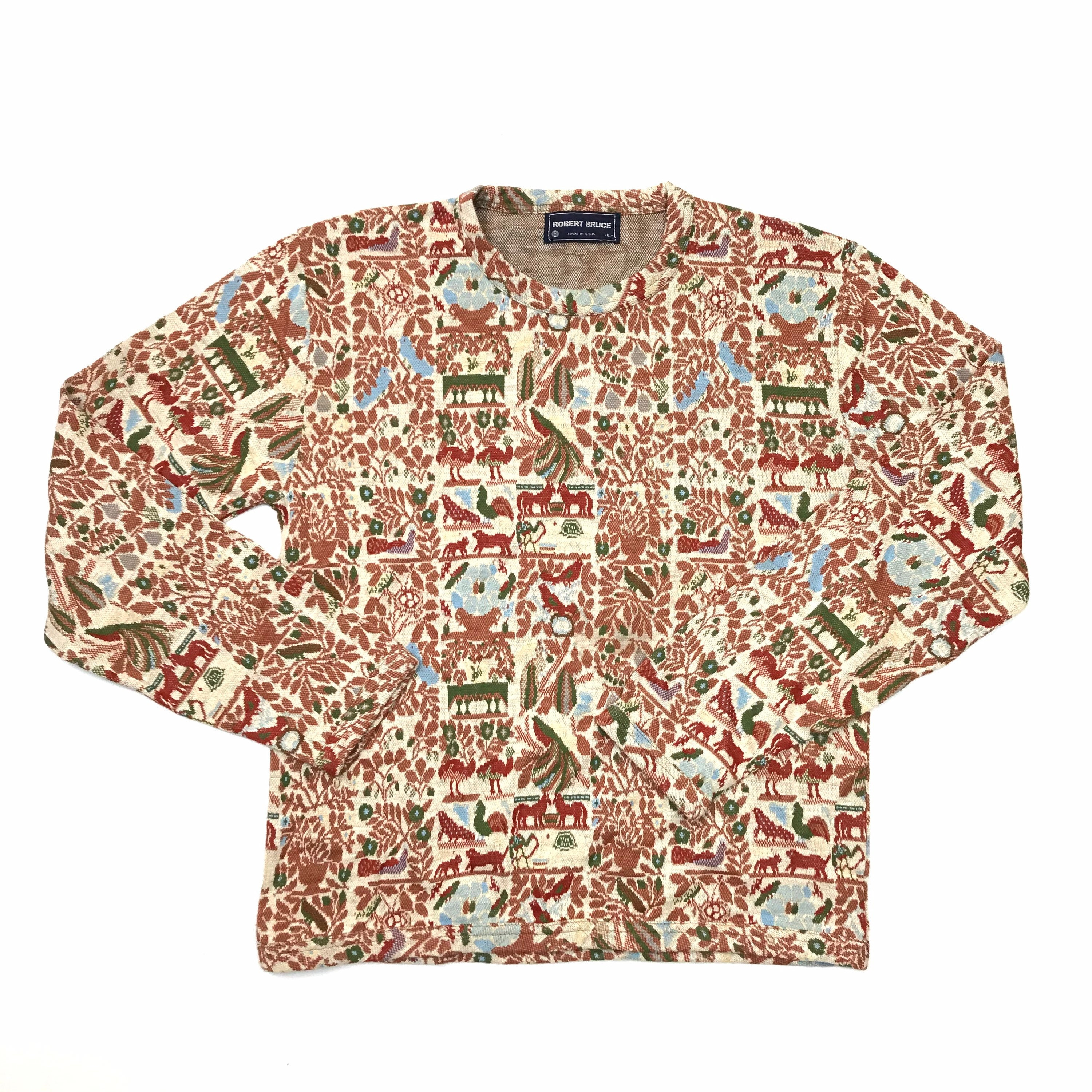 1970s Mens Shirt Styles – Vintage 70s Shirts for Guys 1970s Robert Bruce All Over Farm Large Print Long Sleeve Knit Shirt Sweater $9.99 AT vintagedancer.com