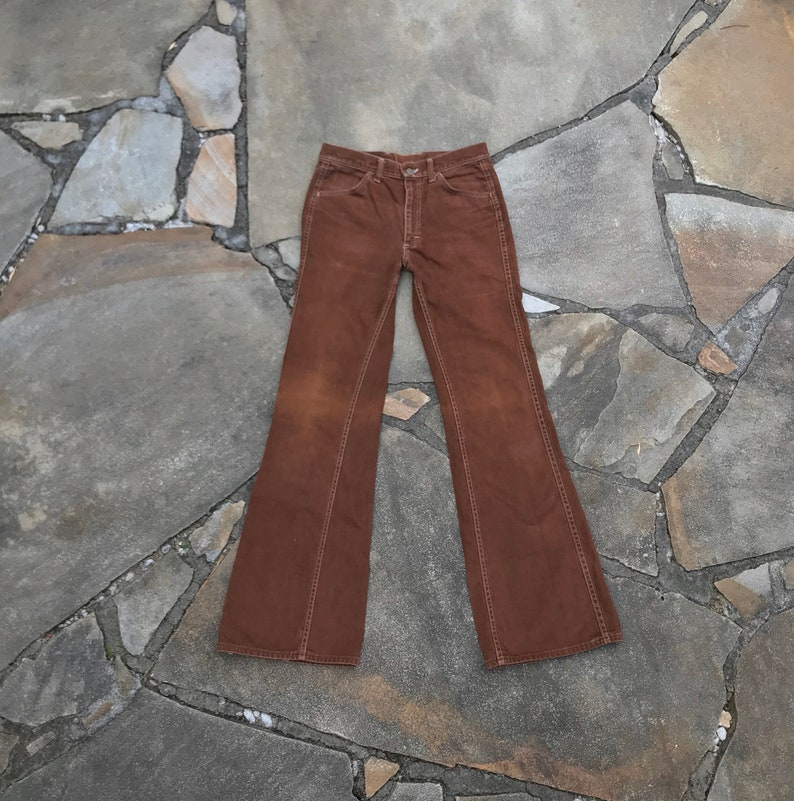 1970\u2019s Lee W31.5 L34 Moleskin Flared Bootcut Jeans Brown Talon Zipper Cotton #D32