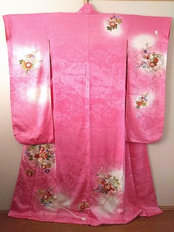 Vintage kimono Japanese kimono ombre pink silk kim