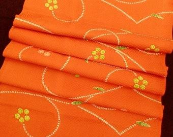 "Kimono fabric remnant silk scrap for crafting sewing diy orange silk floral Japanese kimono fabric 35cm x 100cm (13.7"" x 1 yard)"