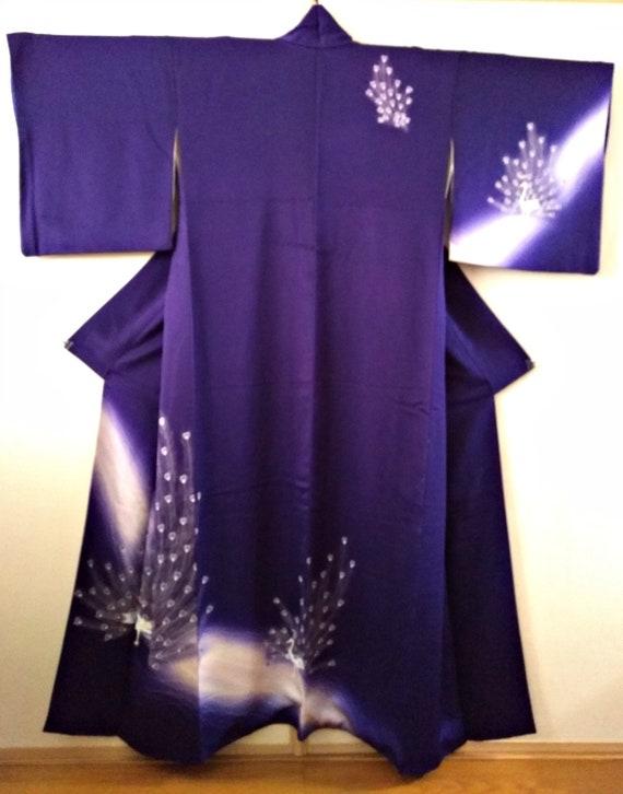 Vintage kimono Japanese kimono purple silk kimono