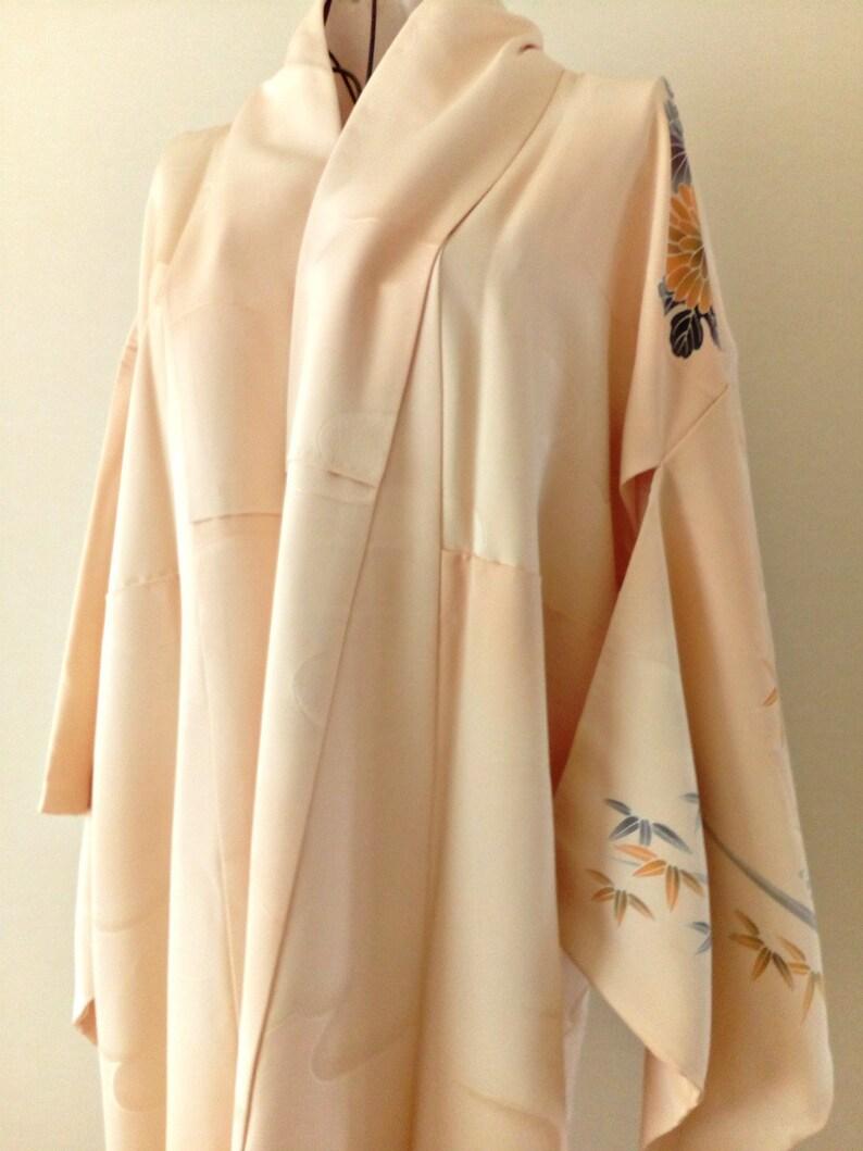 Vintage kimono Japanese kimono soft peach silk kimono with image 0