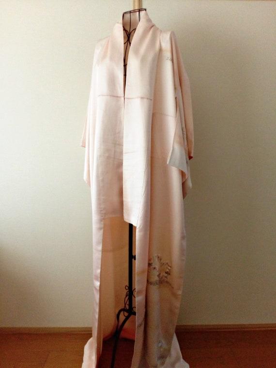 Vintage kimono Japanese kimono pastel pink silk ki