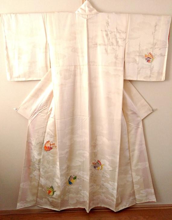 Vintage kimono Japanese kimono ivory white silk ki