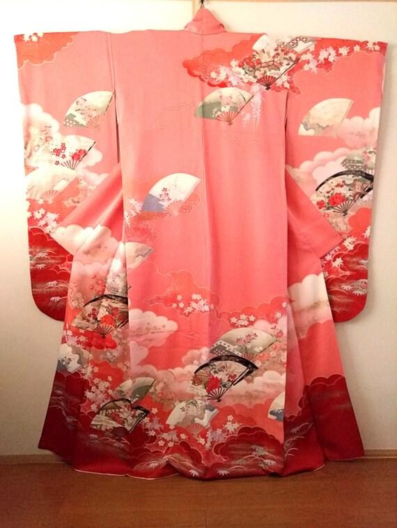 Vintage kimono Japanese kimono salmon pink silk ki