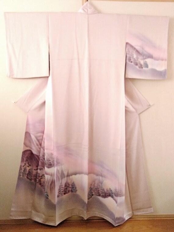 Vintage Japanese kimono soft purple silk kimono sc