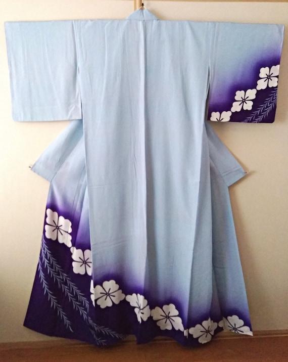 Vintage kimono Japanese kimono ombre blue kimono h